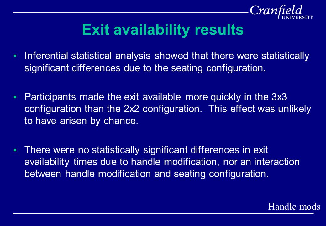 Exit availability results  Inferential statistical analysis showed that there were statistically significant differences due to the seating configuration.