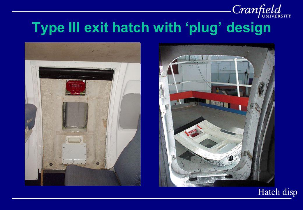Type III exit hatch with 'plug' design Hatch disp