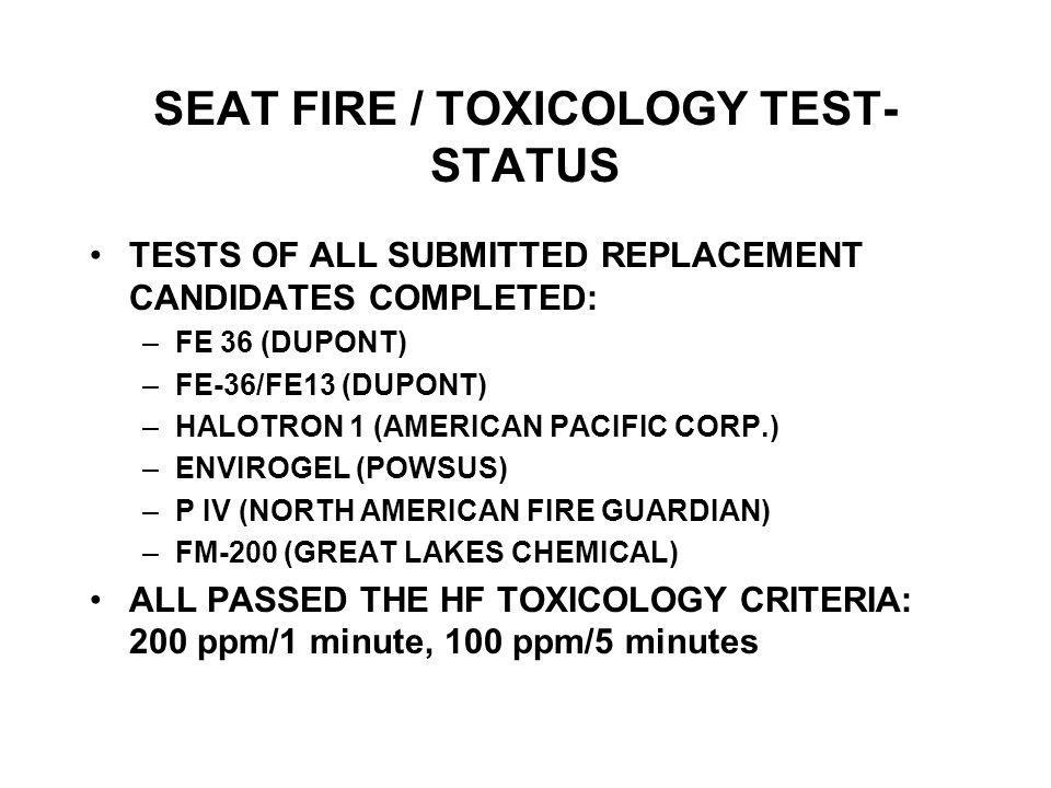 SEAT FIRE / TOXICOLOGY TEST- STATUS TESTS OF ALL SUBMITTED REPLACEMENT CANDIDATES COMPLETED: –FE 36 (DUPONT) –FE-36/FE13 (DUPONT) –HALOTRON 1 (AMERICAN PACIFIC CORP.) –ENVIROGEL (POWSUS) –P IV (NORTH AMERICAN FIRE GUARDIAN) –FM-200 (GREAT LAKES CHEMICAL) ALL PASSED THE HF TOXICOLOGY CRITERIA: 200 ppm/1 minute, 100 ppm/5 minutes