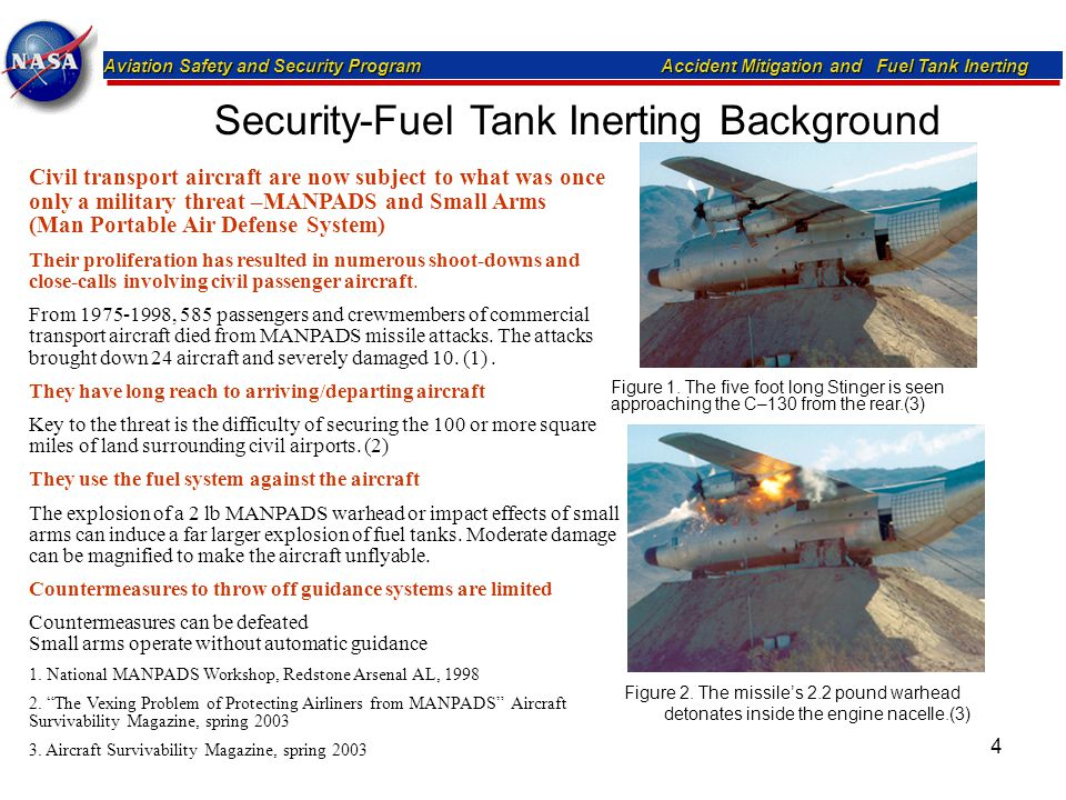 Aviation Safety and Security Program Accident Mitigation and Fuel Tank Inerting 4 Figure 2. The missile's 2.2 pound warhead detonates inside the engin
