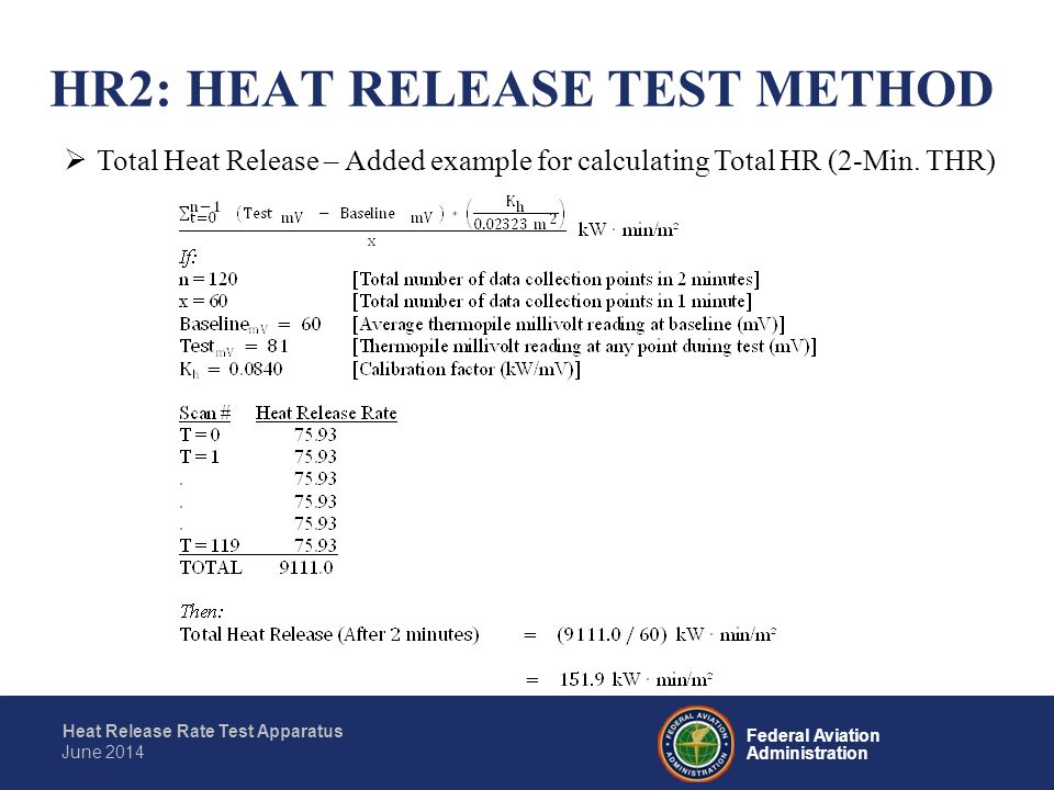 Federal Aviation Administration Heat Release Rate Test Apparatus June 2014  Test Report Laboratory Fully identify the material tested Graphically report the heat release rate (kW/m 2 ) as a function of time (in seconds) for each test Maximum heat release rate and time (in seconds) it occurs during each test Total heat released during the first 2 minutes of each test Radiant heat flux to the specimen HR2: HEAT RELEASE TEST METHOD