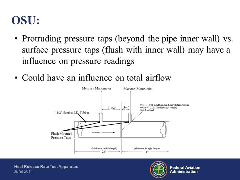 Federal Aviation Administration Heat Release Rate Test Apparatus June 2014 Protruding pressure taps (beyond the pipe inner wall) vs. surface pressure