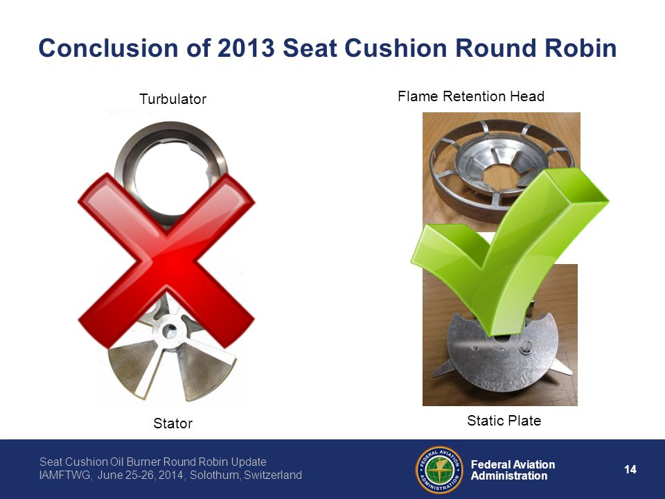 14 Federal Aviation Administration Seat Cushion Oil Burner Round Robin Update IAMFTWG, June 25-26, 2014, Solothurn, Switzerland Conclusion of 2013 Sea