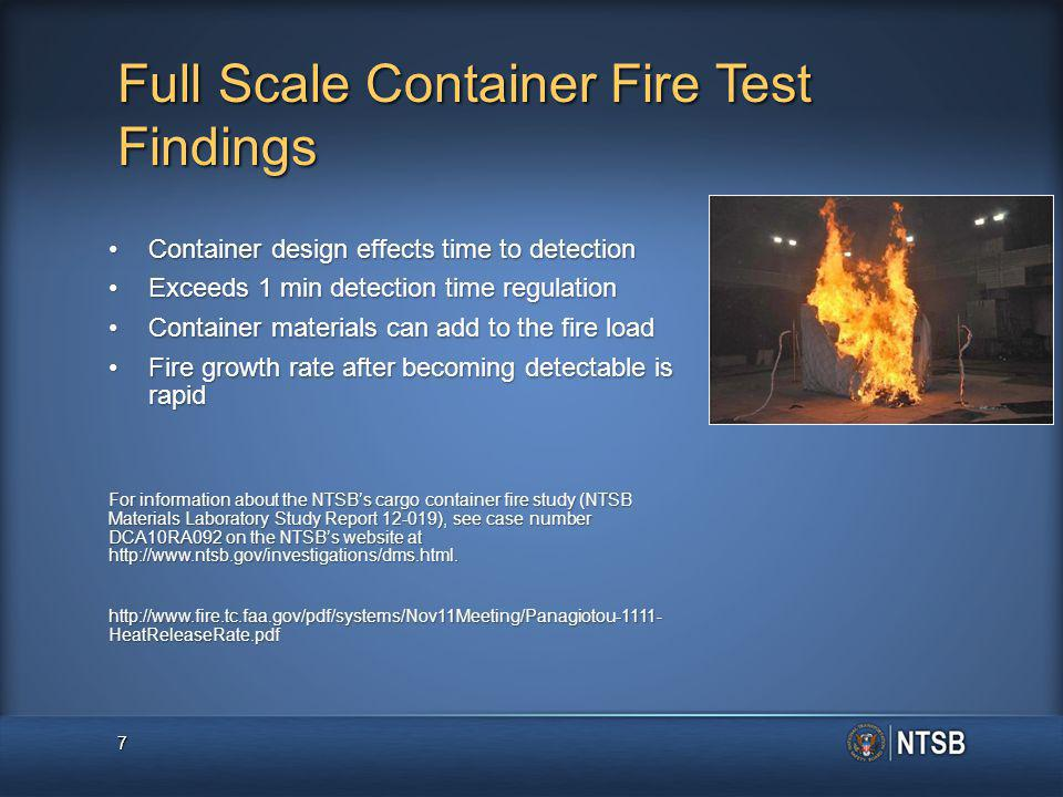 Full Scale Container Fire Test Findings Container design effects time to detectionContainer design effects time to detection Exceeds 1 min detection time regulationExceeds 1 min detection time regulation Container materials can add to the fire loadContainer materials can add to the fire load Fire growth rate after becoming detectable is rapidFire growth rate after becoming detectable is rapid For information about the NTSB's cargo container fire study (NTSB Materials Laboratory Study Report 12-019), see case number DCA10RA092 on the NTSB's website at http://www.ntsb.gov/investigations/dms.html.