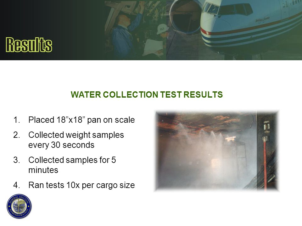 """WATER COLLECTION TEST RESULTS 1.Placed 18""""x18"""" pan on scale 2.Collected weight samples every 30 seconds 3.Collected samples for 5 minutes 4.Ran tests"""