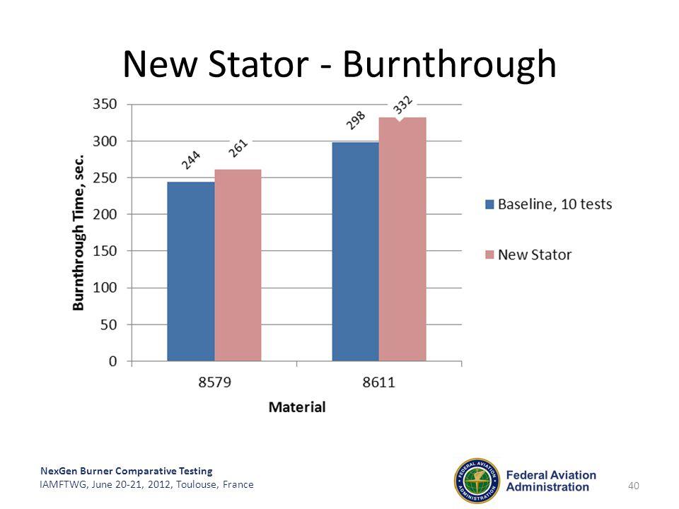 NexGen Burner Comparative Testing IAMFTWG, June 20-21, 2012, Toulouse, France New Stator - Burnthrough 40