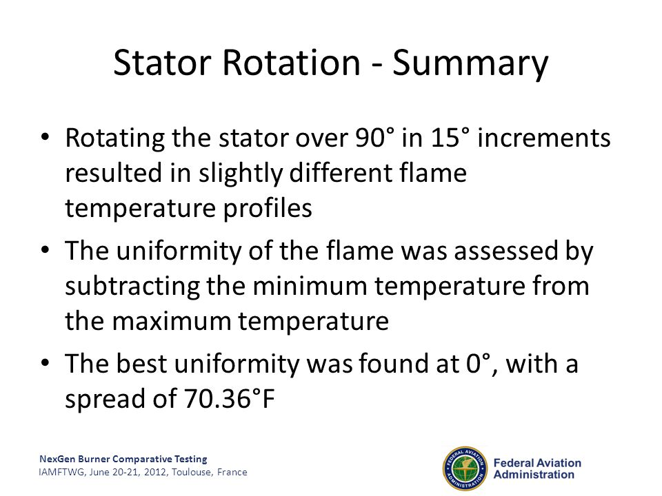 NexGen Burner Comparative Testing IAMFTWG, June 20-21, 2012, Toulouse, France Stator Rotation - Summary Rotating the stator over 90° in 15° increments
