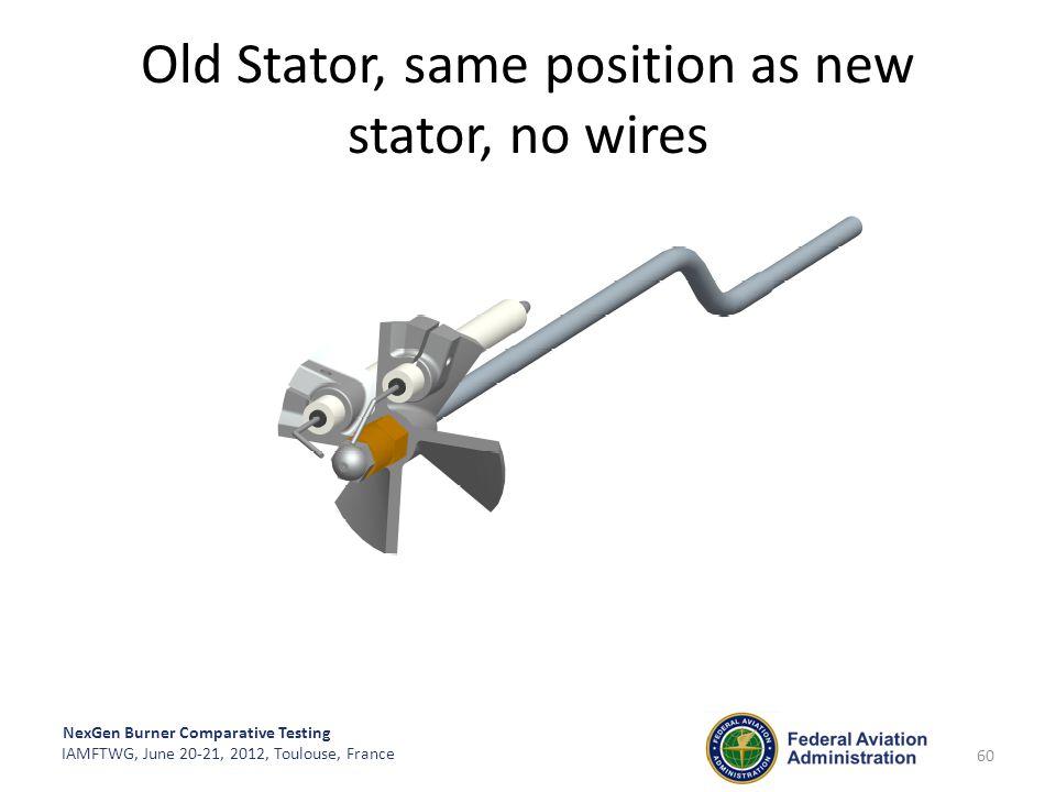 NexGen Burner Comparative Testing IAMFTWG, June 20-21, 2012, Toulouse, France Old Stator, same position as new stator, no wires 60