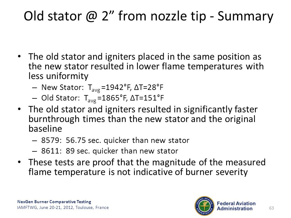 """NexGen Burner Comparative Testing IAMFTWG, June 20-21, 2012, Toulouse, France Old stator @ 2"""" from nozzle tip - Summary 63 The old stator and igniters"""