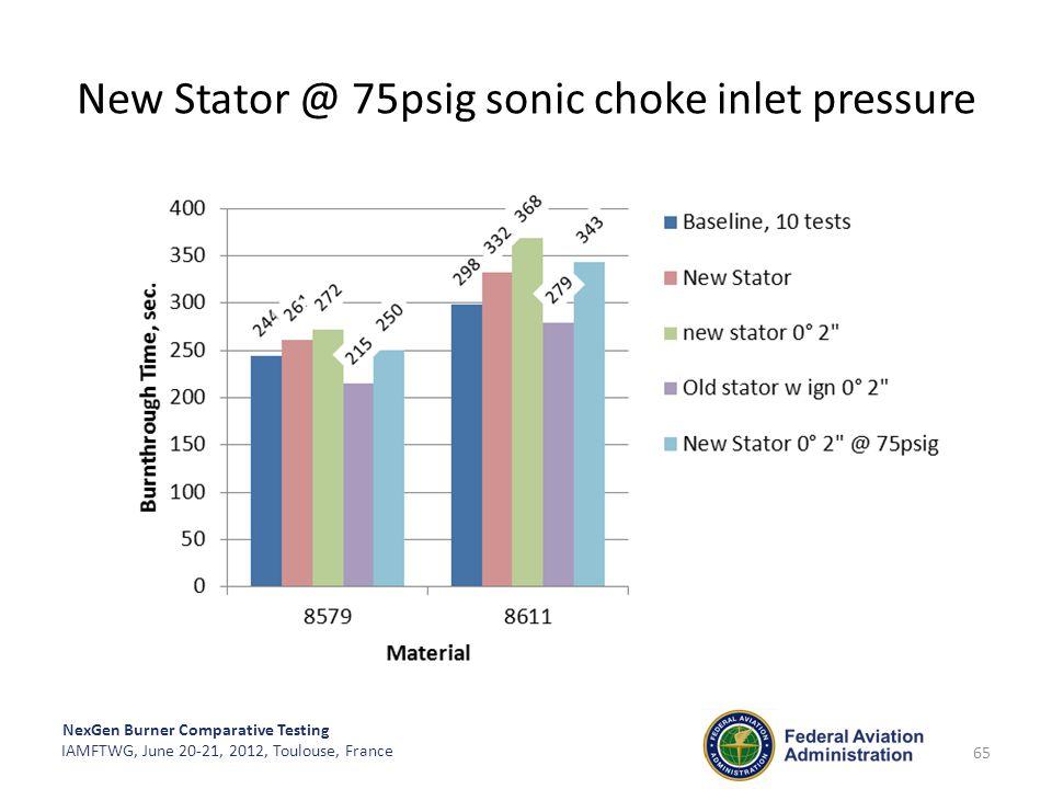NexGen Burner Comparative Testing IAMFTWG, June 20-21, 2012, Toulouse, France New Stator @ 75psig sonic choke inlet pressure 65