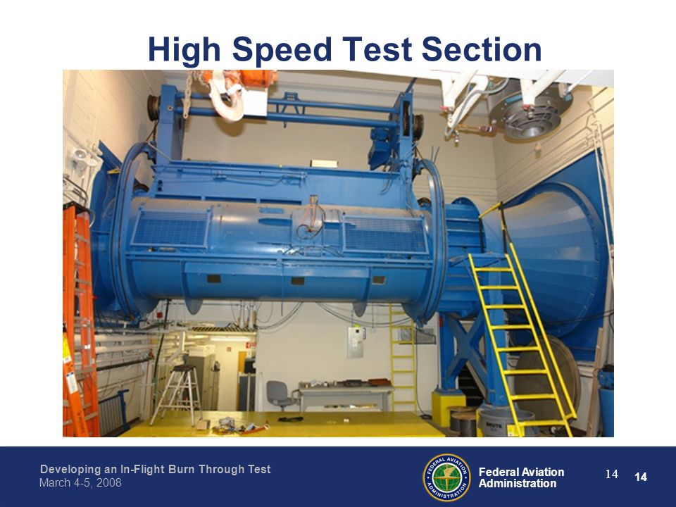 14 Federal Aviation Administration Developing an In-Flight Burn Through Test March 4-5, 2008 14 High Speed Test Section