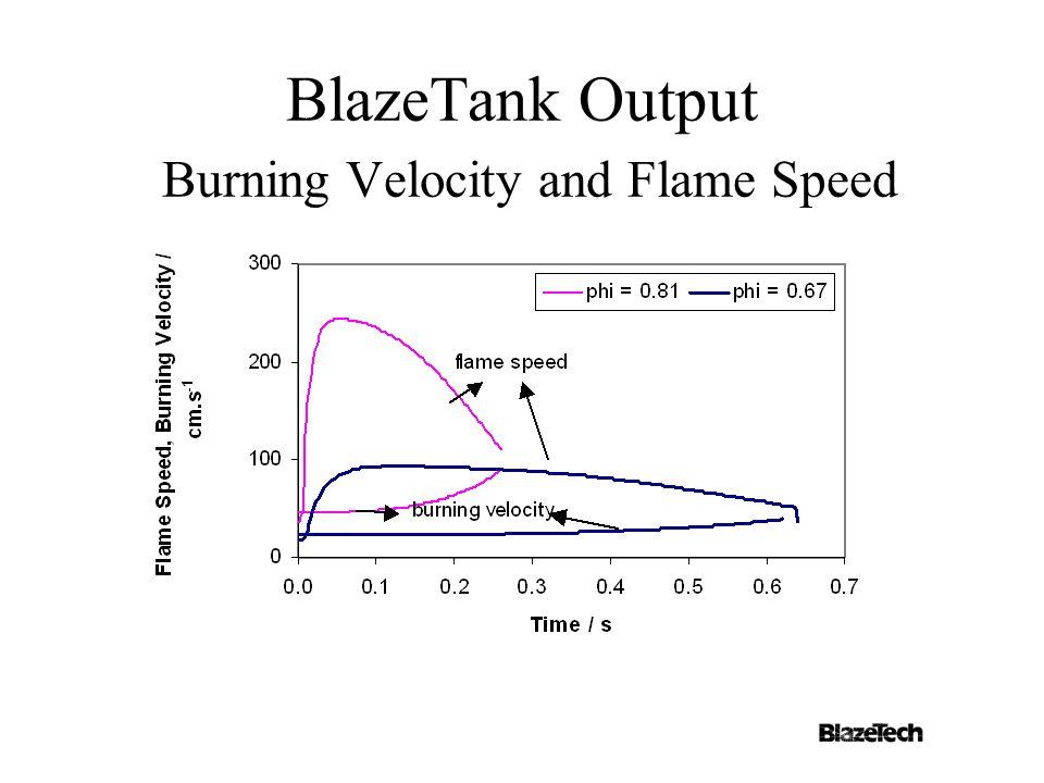 BlazeTank Output Burning Velocity and Flame Speed