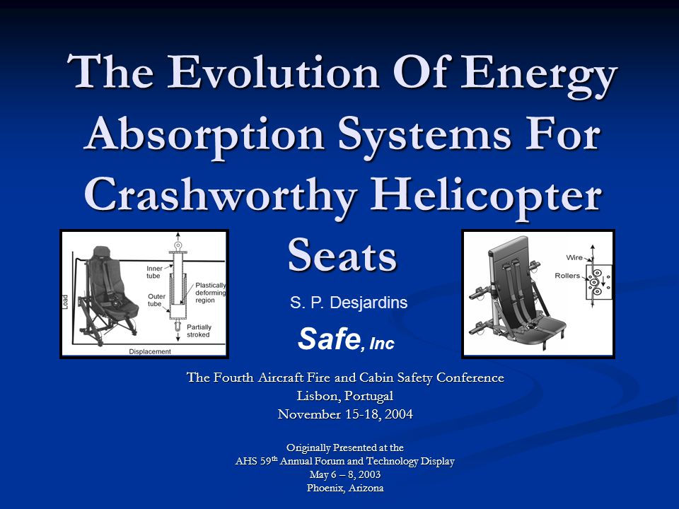 The Evolution Of Energy Absorption Systems For Crashworthy Helicopter Seats The Fourth Aircraft Fire and Cabin Safety Conference Lisbon, Portugal November 15-18, 2004 Originally Presented at the AHS 59 th Annual Forum and Technology Display May 6 – 8, 2003 Phoenix, Arizona.