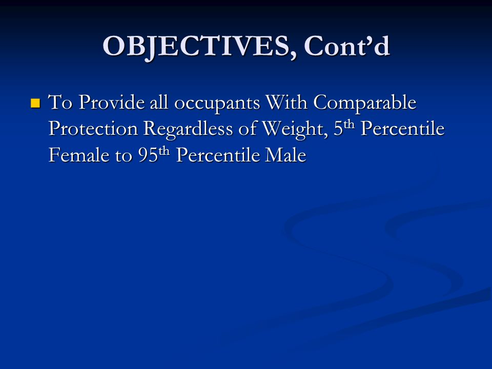 OBJECTIVES, Cont'd To Provide all occupants With Comparable Protection Regardless of Weight, 5 th Percentile Female to 95 th Percentile Male To Provide all occupants With Comparable Protection Regardless of Weight, 5 th Percentile Female to 95 th Percentile Male