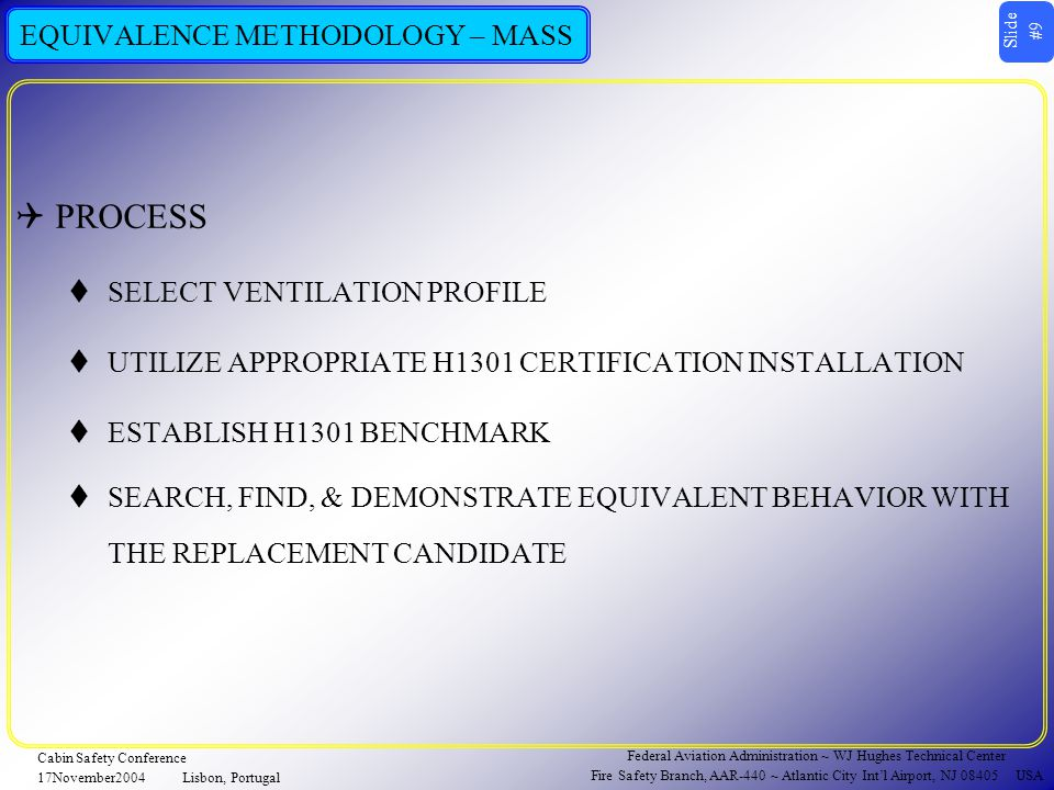 Slide #20 Federal Aviation Administration ~ WJ Hughes Technical Center Fire Safety Branch, AAR-440 ~ Atlantic City Int'l Airport, NJ 08405 USA Cabin Safety Conference 17November2004Lisbon, Portugal EQUIVALENCE METHODOLOGY – CONCENTRATION EQUIVALENCE METHODOLOGY, PART II ~ CONCENTRATION EQUIVALENCE ~