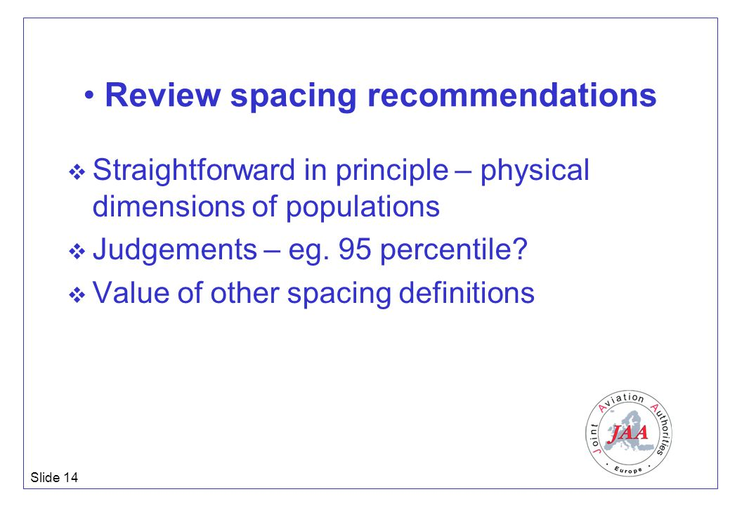 Slide 14 Review spacing recommendations  Straightforward in principle – physical dimensions of populations  Judgements – eg. 95 percentile?  Value