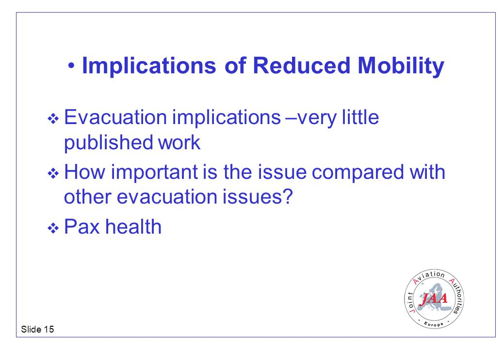 Slide 15 Implications of Reduced Mobility  Evacuation implications –very little published work  How important is the issue compared with other evacu