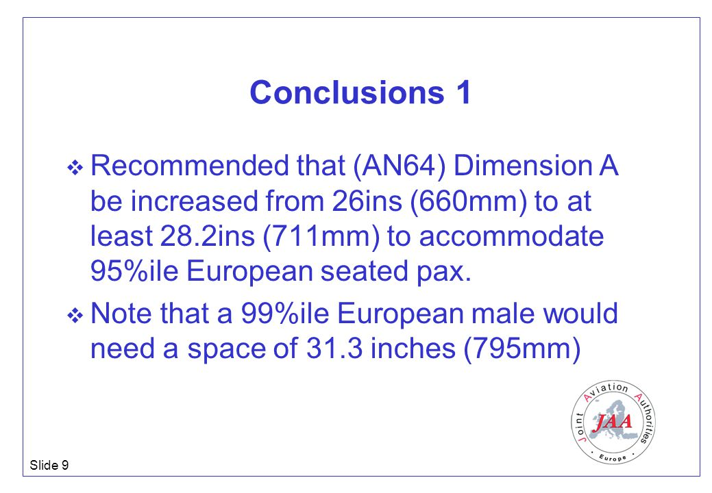 Slide 9 Conclusions 1  Recommended that (AN64) Dimension A be increased from 26ins (660mm) to at least 28.2ins (711mm) to accommodate 95%ile European seated pax.