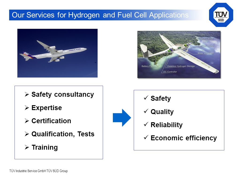TÜV Industrie Service GmbH TÜV SÜD Group Our Services for Hydrogen and Fuel Cell Applications  Safety consultancy  Expertise  Certification  Qualification, Tests  Training Safety Quality Reliability Economic efficiency