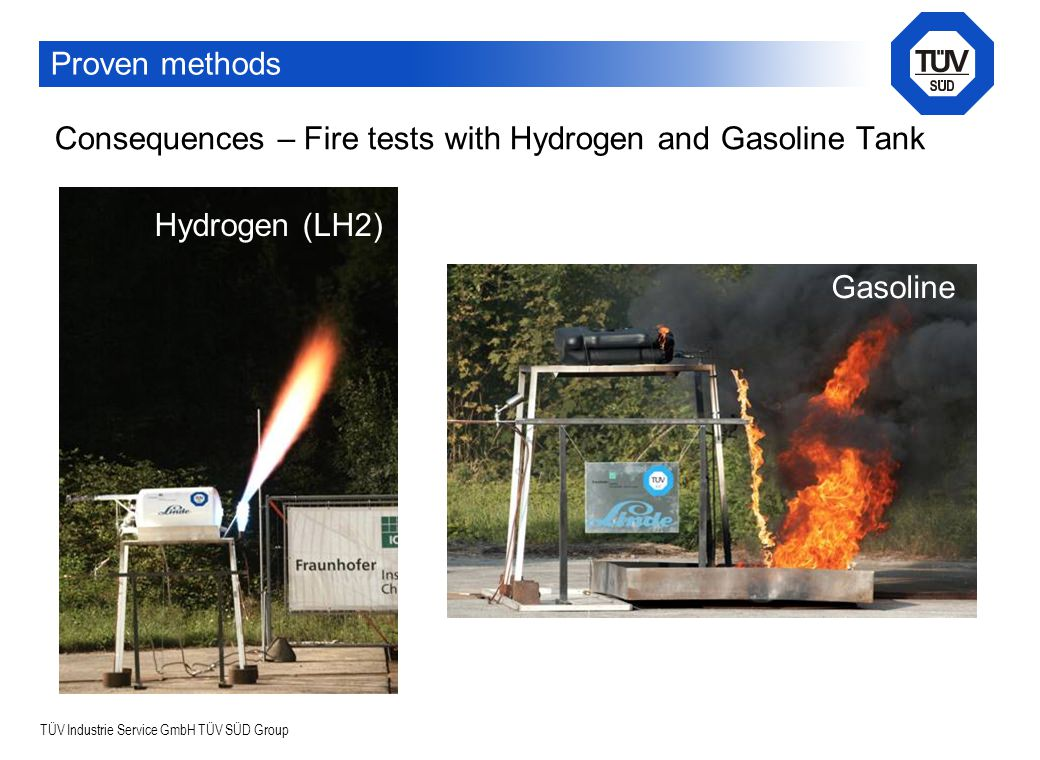 TÜV Industrie Service GmbH TÜV SÜD Group Consequences – Fire tests with Hydrogen and Gasoline Tank Hydrogen (LH2) Gasoline Proven methods