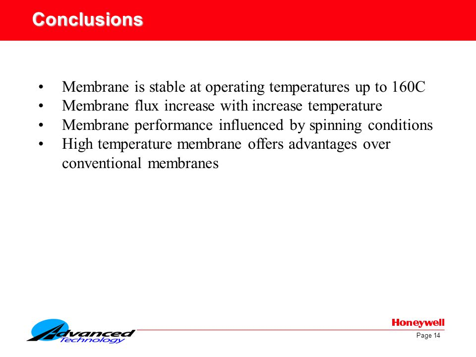 Page 14 Conclusions Membrane is stable at operating temperatures up to 160C Membrane flux increase with increase temperature Membrane performance infl