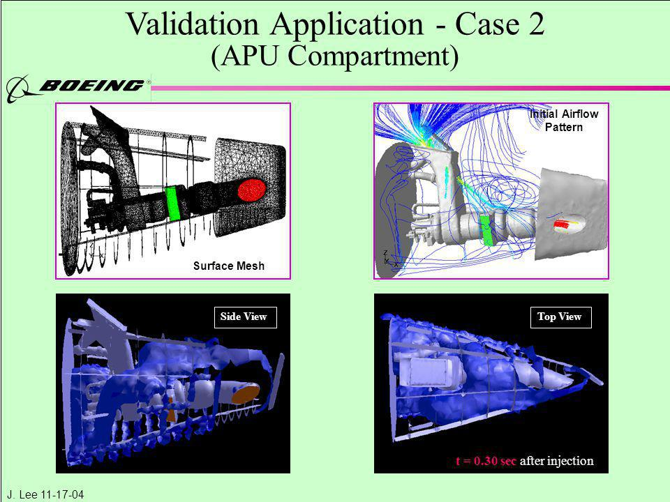 J. Lee 11-17-04 Validation Application - Case 2 (APU Compartment) Surface Mesh Side ViewTop View t = 0.30 sec after injection Initial Airflow Pattern