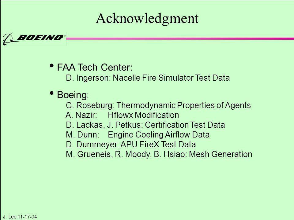 J. Lee 11-17-04 FAA Tech Center: D. Ingerson: Nacelle Fire Simulator Test Data Boeing : C. Roseburg: Thermodynamic Properties of Agents A. Nazir: Hflo