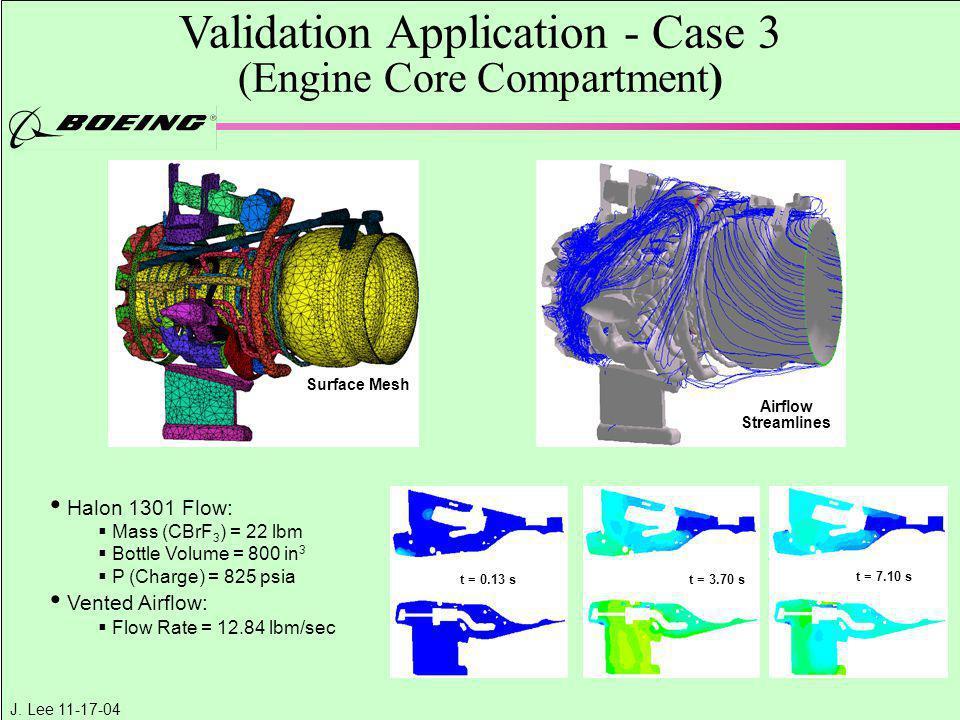 J. Lee 11-17-04 Validation Application - Case 3 (Engine Core Compartment) Surface Mesh Airflow Streamlines Halon 1301 Flow:  Mass (CBrF 3 ) = 22 lbm