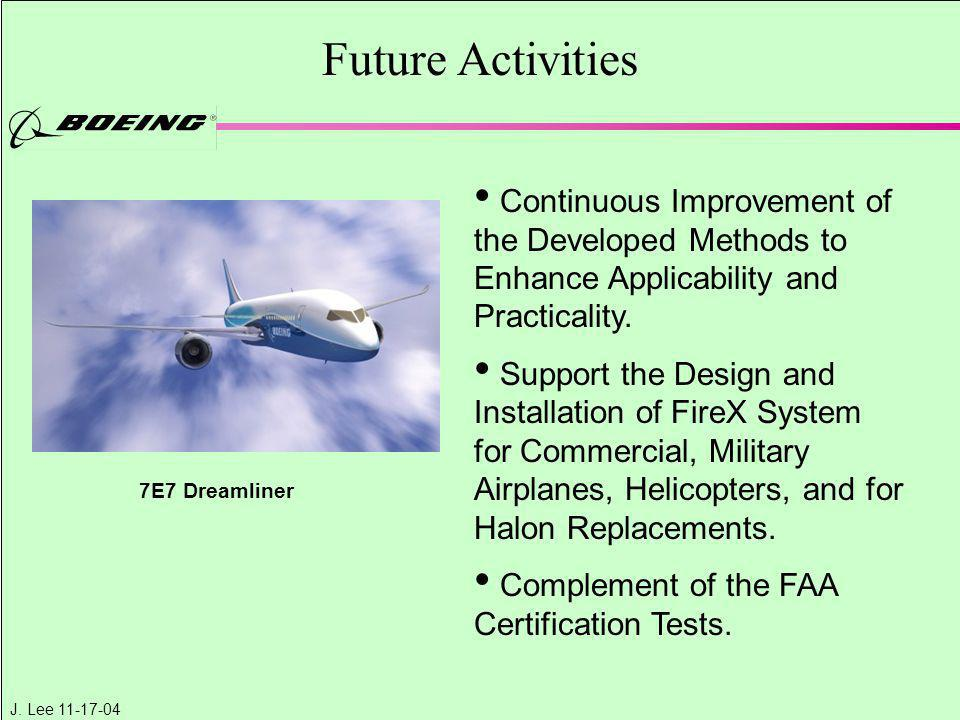 J. Lee 11-17-04 Future Activities Continuous Improvement of the Developed Methods to Enhance Applicability and Practicality. Support the Design and In