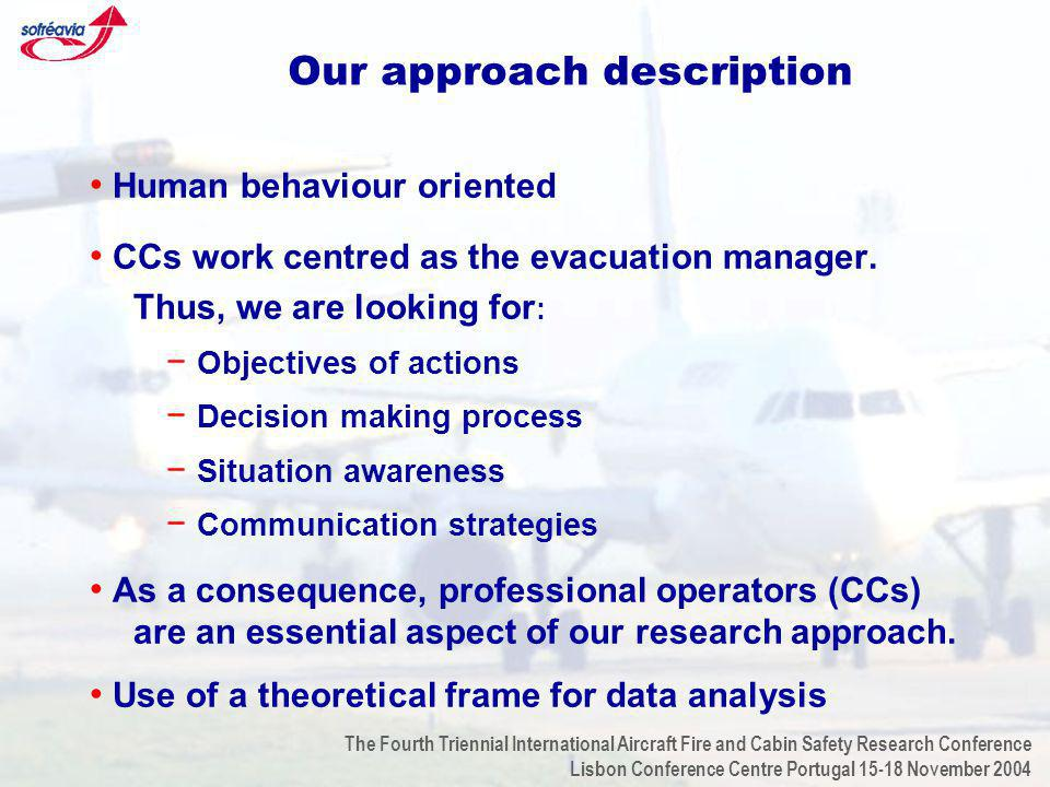 The Fourth Triennial International Aircraft Fire and Cabin Safety Research Conference Lisbon Conference Centre Portugal 15-18 November 2004 Our approach description Human behaviour oriented CCs work centred as the evacuation manager.