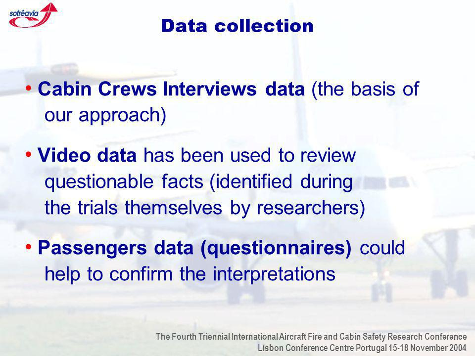 The Fourth Triennial International Aircraft Fire and Cabin Safety Research Conference Lisbon Conference Centre Portugal 15-18 November 2004 Data collection Cabin Crews Interviews data (the basis of our approach) Video data has been used to review questionable facts (identified during the trials themselves by researchers) Passengers data (questionnaires) could help to confirm the interpretations