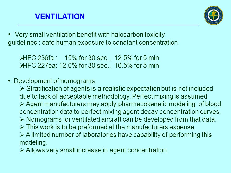 VENTILATION Very small ventilation benefit with halocarbon toxicity guidelines : safe human exposure to constant concentration  HFC 236fa : 15% for 3