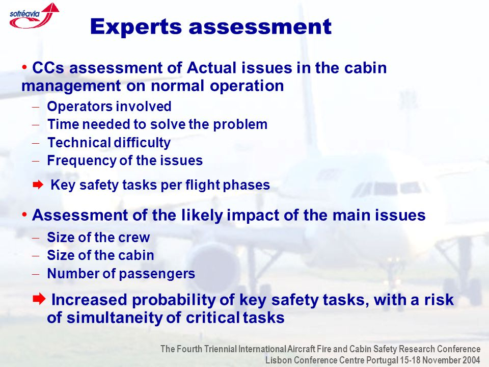 The Fourth Triennial International Aircraft Fire and Cabin Safety Research Conference Lisbon Conference Centre Portugal 15-18 November 2004 Experts assessment CCs assessment of Actual issues in the cabin management on normal operation  Operators involved  Time needed to solve the problem  Technical difficulty  Frequency of the issues  Key safety tasks per flight phases Assessment of the likely impact of the main issues  Size of the crew  Size of the cabin  Number of passengers  Increased probability of key safety tasks, with a risk of simultaneity of critical tasks
