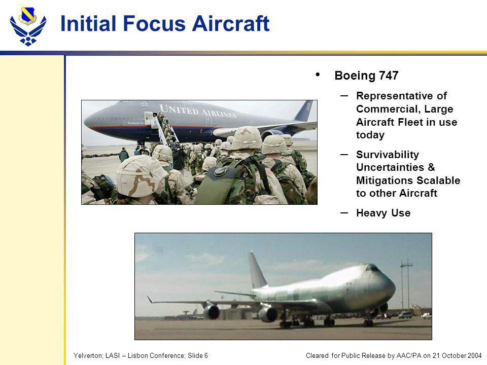 Yelverton; LASI – Lisbon Conference; Slide 6 Initial Focus Aircraft Boeing 747 – Representative of Commercial, Large Aircraft Fleet in use today – Survivability Uncertainties & Mitigations Scalable to other Aircraft – Heavy Use Cleared for Public Release by AAC/PA on 21 October 2004