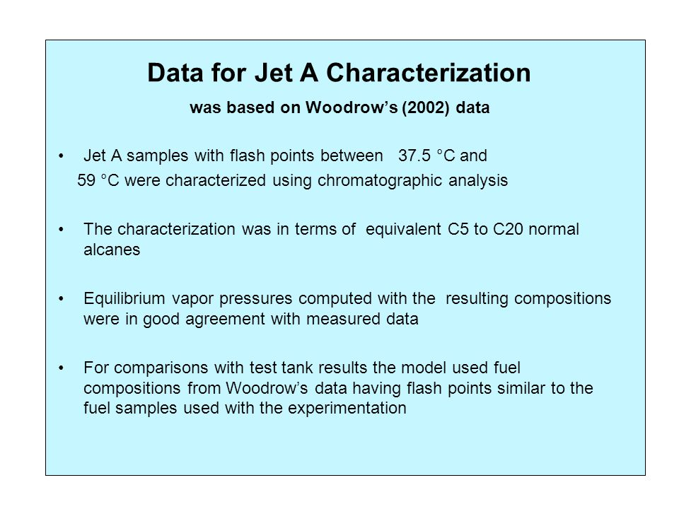 Data for Jet A Characterization was based on Woodrow's (2002) data Jet A samples with flash points between 37.5 °C and 59 °C were characterized using chromatographic analysis The characterization was in terms of equivalent C5 to C20 normal alcanes Equilibrium vapor pressures computed with the resulting compositions were in good agreement with measured data For comparisons with test tank results the model used fuel compositions from Woodrow's data having flash points similar to the fuel samples used with the experimentation