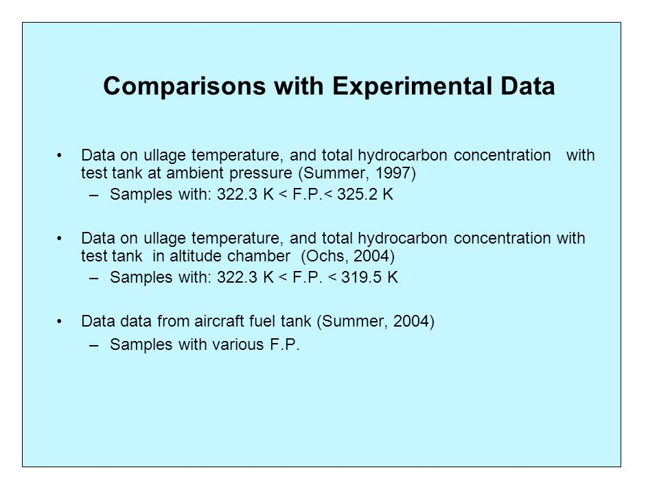Comparisons with Experimental Data Data on ullage temperature, and total hydrocarbon concentration with test tank at ambient pressure (Summer, 1997) –Samples with: 322.3 K < F.P.< 325.2 K Data on ullage temperature, and total hydrocarbon concentration with test tank in altitude chamber (Ochs, 2004) –Samples with: 322.3 K < F.P.