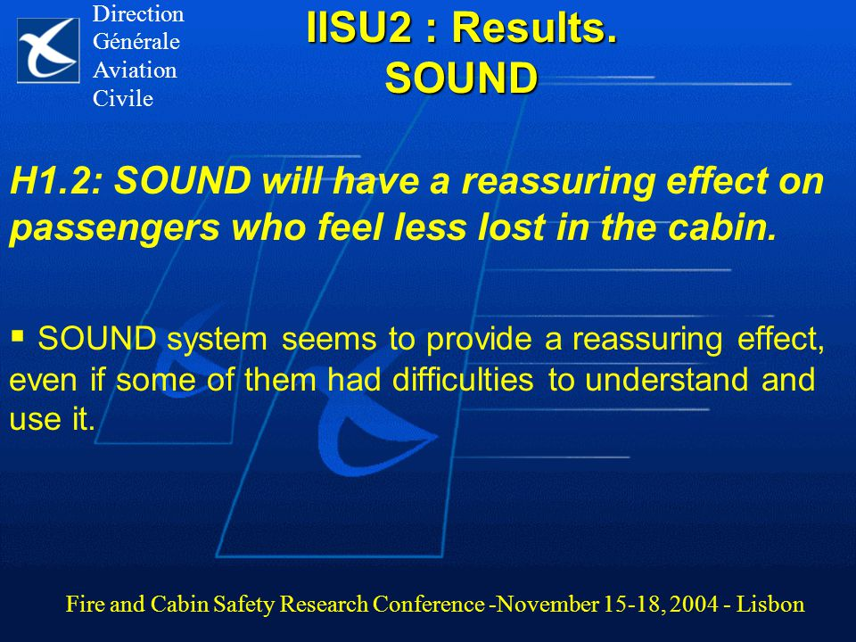 IISU2 : Results. SOUND H1.2: SOUND will have a reassuring effect on passengers who feel less lost in the cabin.  SOUND system seems to provide a reas