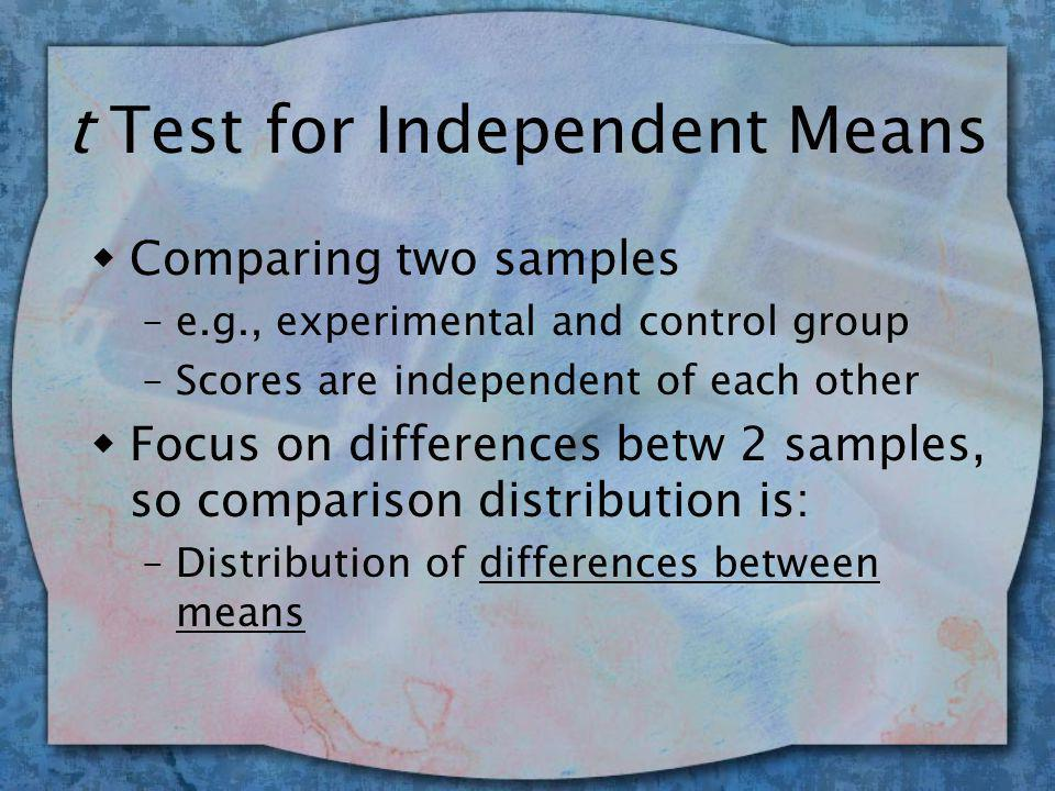 t Test for Independent Means wComparing two samples –e.g., experimental and control group –Scores are independent of each other wFocus on differences betw 2 samples, so comparison distribution is: –Distribution of differences between means