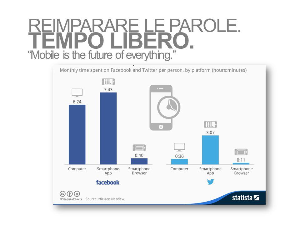 """Mobile is the future of everything."" REIMPARARE LE PAROLE. TEMPO LIBERO."