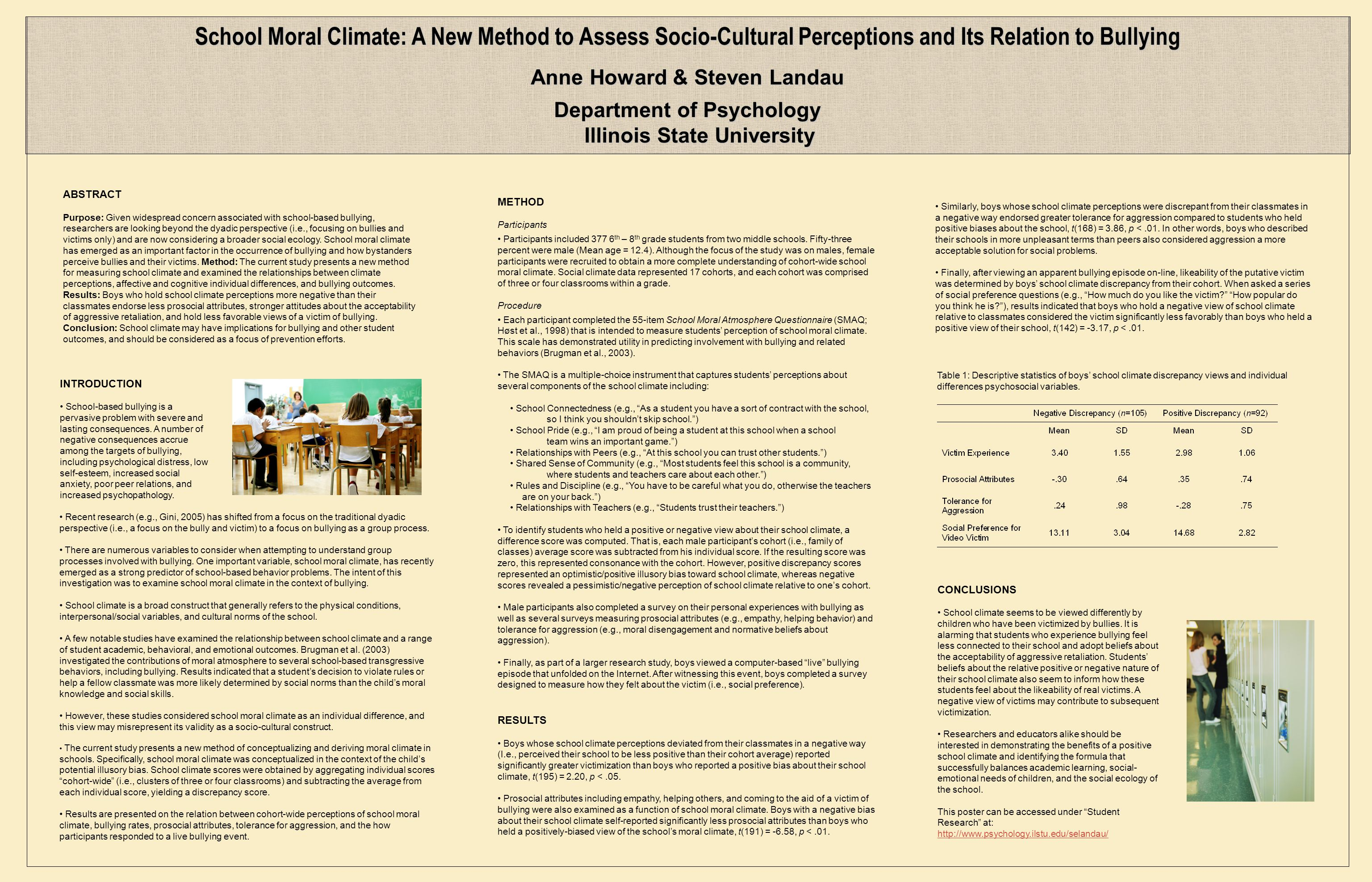 r P School Moral Climate: A New Method to Assess Socio-Cultural Perceptions and Its Relation to Bullying Anne Howard & Steven Landau Department of Psychology Illinois State University Recent research (e.g., Gini, 2005) has shifted from a focus on the traditional dyadic perspective (i.e., a focus on the bully and victim) to a focus on bullying as a group process.