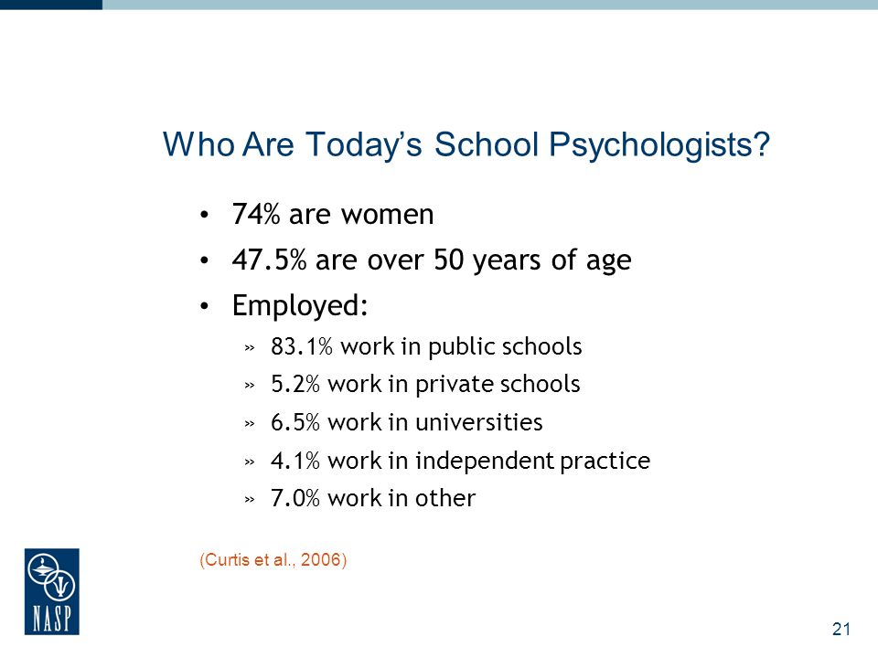 21 Who Are Today's School Psychologists? 74% are women 47.5% are over 50 years of age Employed: »83.1% work in public schools »5.2% work in private sc