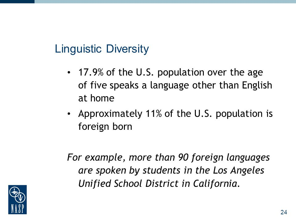 24 Linguistic Diversity 17.9% of the U.S. population over the age of five speaks a language other than English at home Approximately 11% of the U.S. p