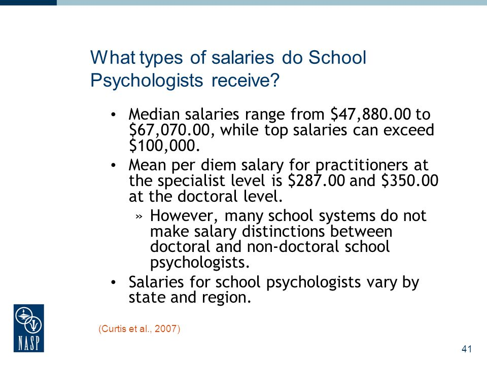 41 What types of salaries do School Psychologists receive? Median salaries range from $47,880.00 to $67,070.00, while top salaries can exceed $100,000