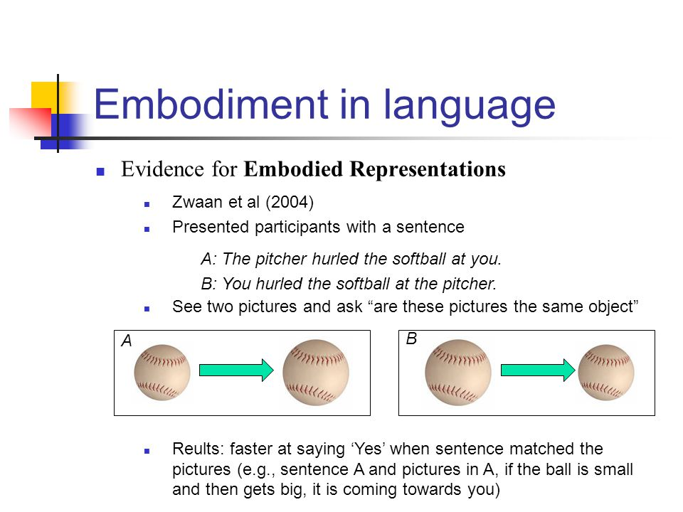Embodiment in language Evidence for Embodied Representations Zwaan et al (2004) Presented participants with a sentence A: The pitcher hurled the softb