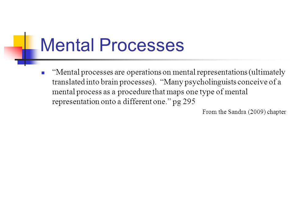 "Mental Processes ""Mental processes are operations on mental representations (ultimately translated into brain processes). ""Many psycholinguists concei"