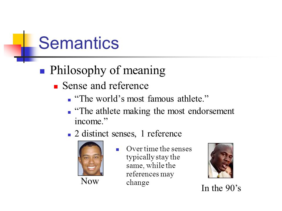 "Semantics Philosophy of meaning Sense and reference ""The world's most famous athlete."" ""The athlete making the most endorsement income."" 2 distinct se"