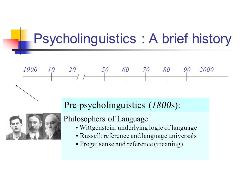 Psycholinguistics : A brief history 1900 102050607080902000 Pre-psycholinguistics: Merringer & Meyer (1895): Speech errors reveal properties of linguistic system psycINFO 16 Pre 1920
