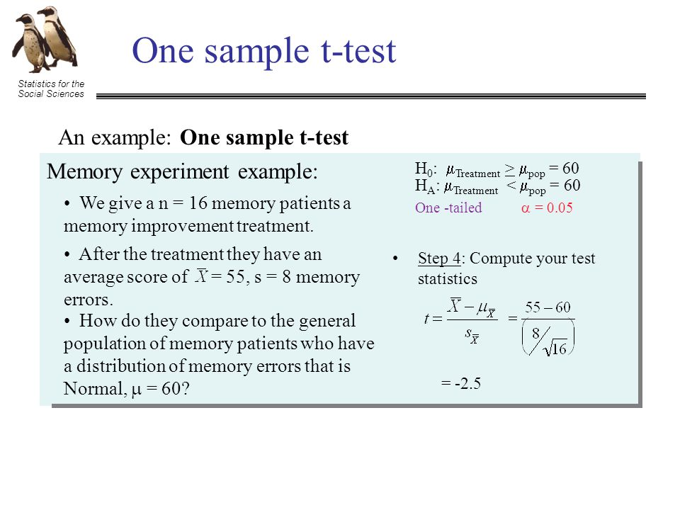 Statistics for the Social Sciences One sample t-test An example: One sample t-test Memory experiment example: We give a n = 16 memory patients a memory improvement treatment.