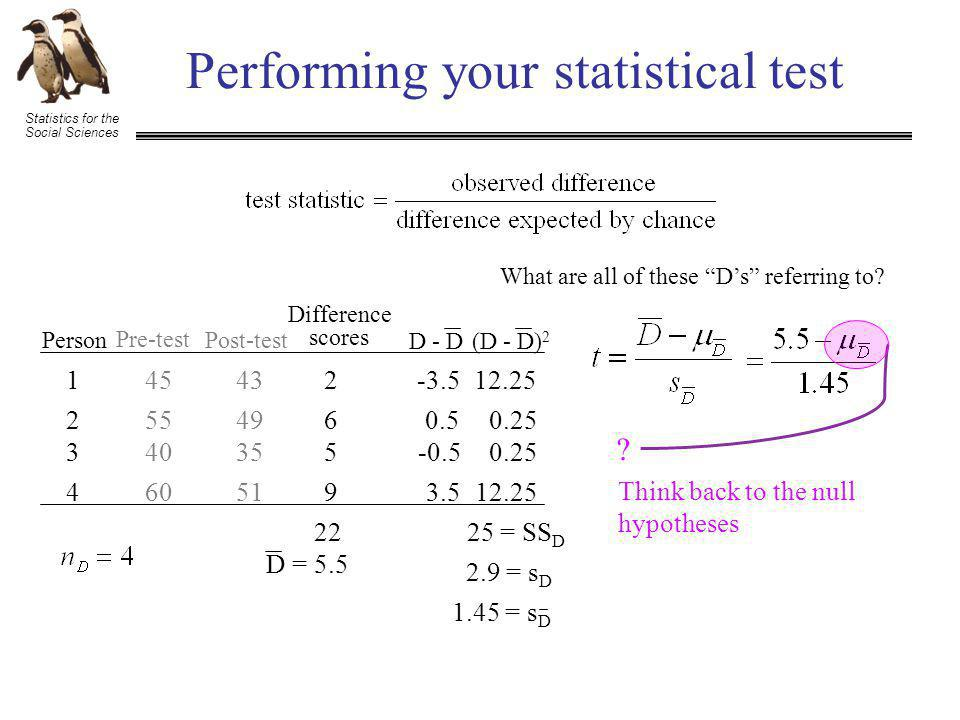 "Statistics for the Social Sciences Performing your statistical test What are all of these ""D's"" referring to? Person 1 2 3 4 Pre-test Post-test 45 55"