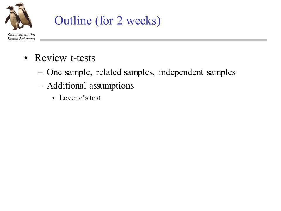 Statistics for the Social Sciences Outline (for 2 weeks) Review t-tests –One sample, related samples, independent samples –Additional assumptions Levene's test